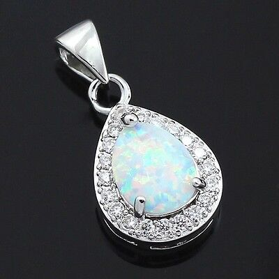 - Oval White Fire Opal CZ Teardrop Halo Pendant Necklace 925 Sterling Silver N22