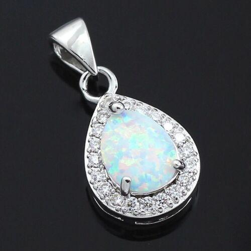 Oval White Fire Opal CZ Teardrop Halo Pendant Necklace 925 Sterling Silver N22 Fashion Jewelry
