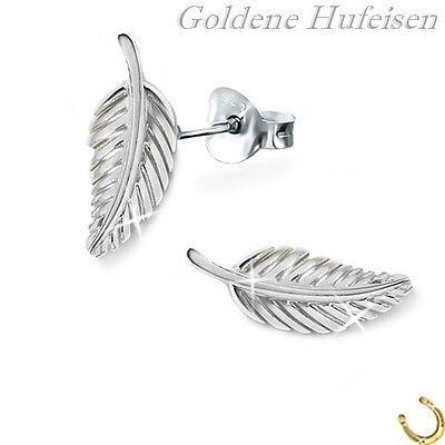 Blatt Ohrstecker 925 Echt Silber Mädchen Damen Blätter Ohrringe xc060