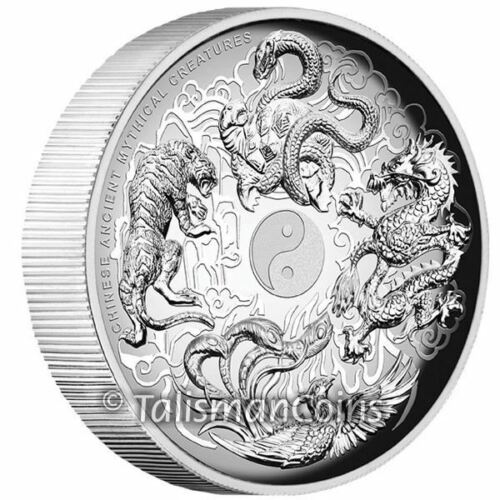 Tuvalu 2016 Ancient Chinese Mythical Creatures $1 1 Oz Silver High Relief Proof