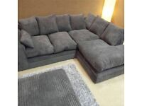 FREE DELIVERY CORNER SOFA OR 3 + 2 SEATER SUITE SETTEE COUCH JUMBO CORD FABRIC OR CRUSHED VELVET