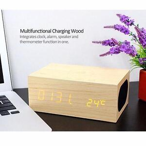 X5 Wood QI Wireless Charging NFC Bluetooth Speaker with Dual USB Charger,Alarm /Clock/ Thermometer Hands-free For Phone
