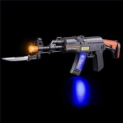 LIGHT UP MACHINE GUN!!! toy rifle with lights and sound AK47 army military LED - Toy Gun With Sound