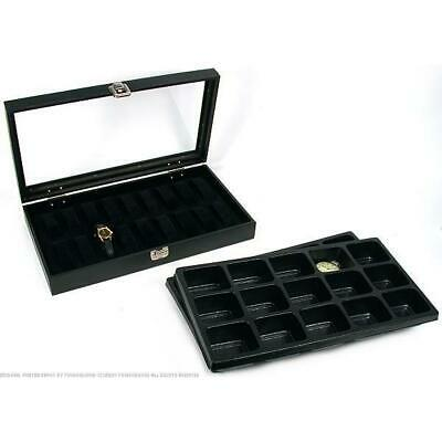 30 Pocket Watch Jewelry Display Tray Glass Lid Case