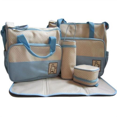 New 5pcs Baby Girl Boy Nappy Changing Bag Set Diaper Bag