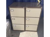 2 X brown 3 drawer filing cabinets. Delivery