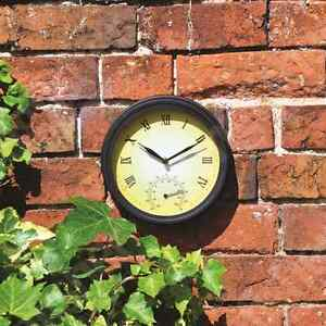 TRADITIONAL-GARDEN-PATIO-WALL-CLOCK-WITH-THERMOMETER-VICTORIAN-STYLE-20CM-DIA