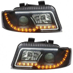Audi A4 Headlight Black housing 02-04, yellow Led