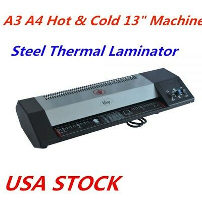 13 Steel Thermal Laminator A3 A4 Hot Cold Laminator Machine Us Stock
