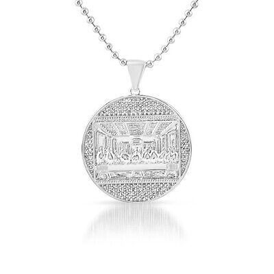 Silver Mini Last Supper Jesus Medallion Iced Out Pendant Necklace Iced Out Jesus Pendant