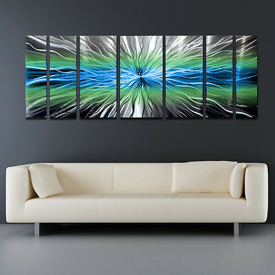 Modern Contemporary Abstract Metal Wall Art Sculpture Blue Painting Home Decor .
