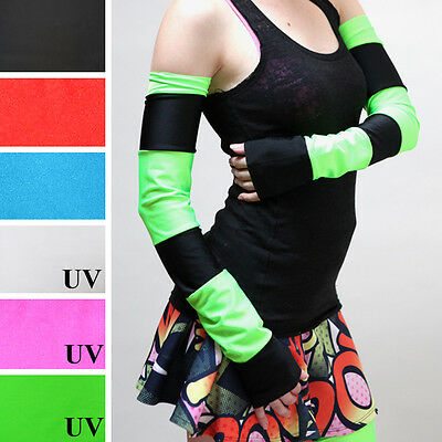 Striped Arm Warmers Green Anime Costume Black Gloves UV Glow Elbow Length Cyber Black Striped Arm Warmers