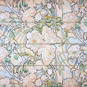 Art nouveau flower peonies alfons mucha ceramic mural for Art nouveau tile mural