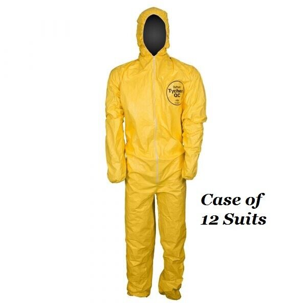 DuPont Tyvek Tychem QC127S Yellow Chemical Hazmat Coverall Suit, CASE OF 12 Business & Industrial