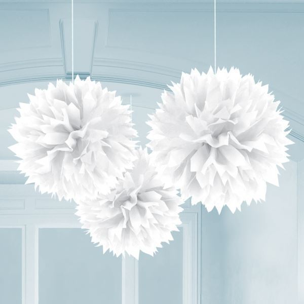 White Paper Fluffy Decorations 40cm Birthday Wedding Event Party