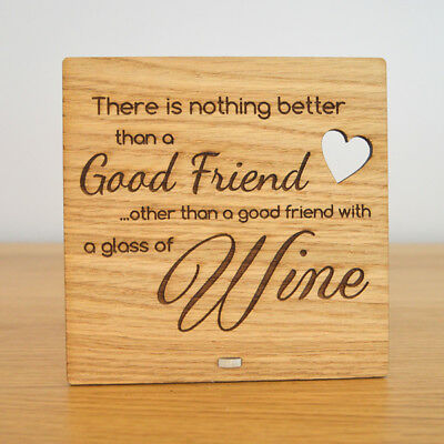 Wooden Glass Of Wine Plaque For Best Friend Birthday Christmas Wine Gift