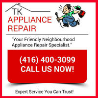 CHEAP APPLIANCE REPAIR! Licensed & Insured (416) 400 3099