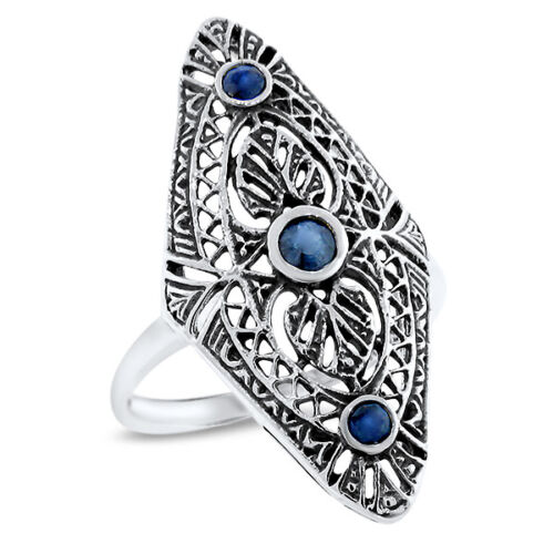 CLASSIC ART DECO GENUINE SAPPHIRE 925 STERLING SILVER ANTIQUE STYLE RING,  #1063