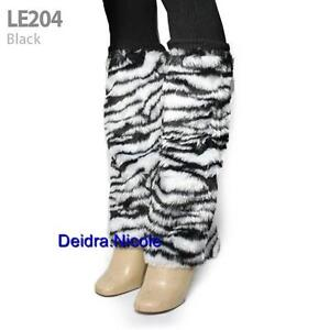 ZEBRA PRINT FAUX FUR FURRY LEG WARMERS, Black/White Glamorous Cute Factor Funky