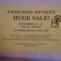 PARIS ROAD ANTIQUES ANNUAL SALE, SEPT 4to6. 8am to 6pm daily