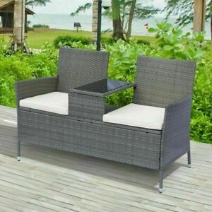 Chaise Double avec Table en Rotin PE