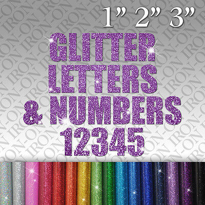 Custom Glitter Names Letters & Numbers Iron on vinyl T-SHIRT Transfer for