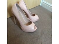 Pink/nude peep toe shoes size 5