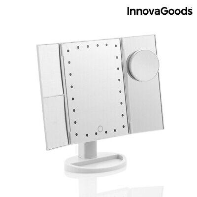 InnovaGoods Espejo de Maquillaje 24 LED de Aumento 4 en 1 Diseño...