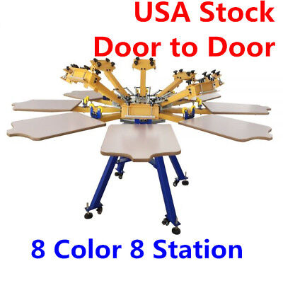 8 Color 8 Station Screen Printing Machine Press T-shirt Printer Equipment Diy