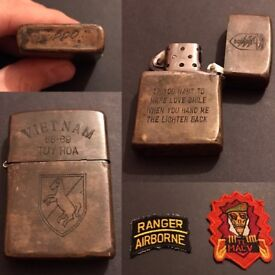 Vietnam US Special Forces Lighter & badges.