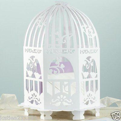 New wedding white vintage lace birdcage card holder post box & mr mrs banner