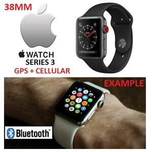 NEW APPLE WATCH SERIES 3 38MM MQJP2LL/A 176995346 GPS+CELL SPACE GREY ALUMINUM W/BLACK SPORT BAND GPS + CELLULAR