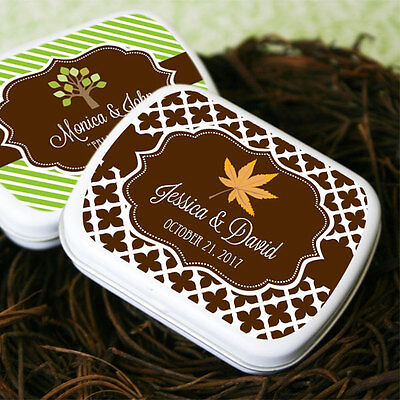 48 Personalized Fall Autumn Mint Tins Wedding Favor Boxes Favors