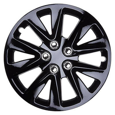 Velocity 13 Inch Boxed Wheel Trim Set of 4 Black Gloss Hub Caps Covers - TopTech