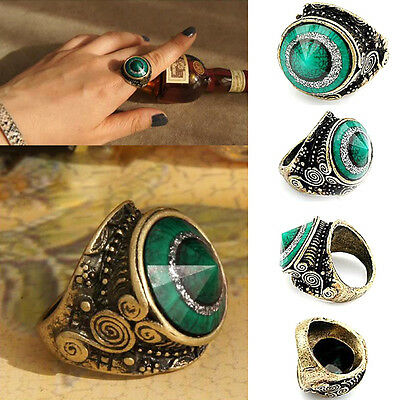 Eyeball Mirror - Multi-Dimensiona Vintga Green Jade Eyeball  Rhinestone Metal Mirror Jewelry Ring