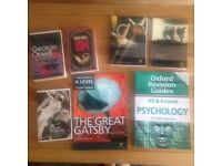 A Level and GCSE books, Psychology and English