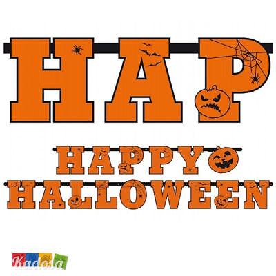 Ghirlanda Happy Halloween Arancione -Decorazione Festa Horror Fantasy Streghe