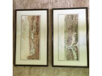 Pair of hand coloured etchings prints paintings of Rouen France