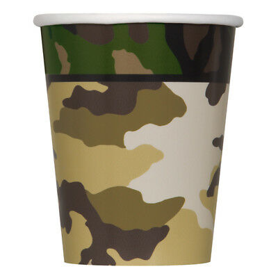 MILITARY CAMO Camouflage Birthday Party Supplies Paper CUPS 9 oz (Military Birthday Supplies)