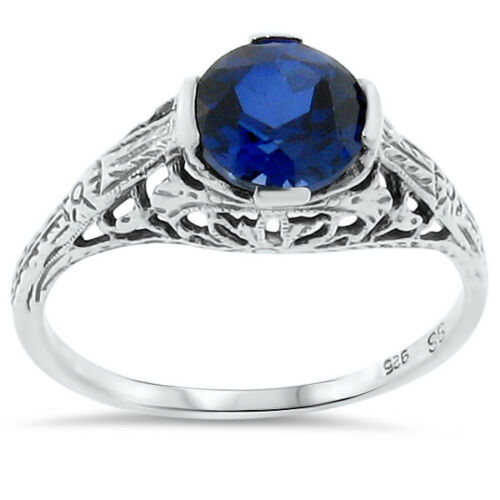 2 CT ROYAL BLUE LAB SAPPHIRE 925 STERLING SILVER ANTIQUE STYLE RING SIZE 10 #156