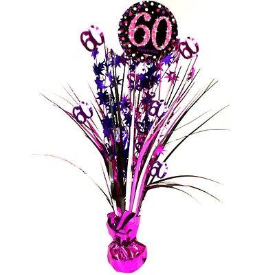 Tischdekoration Zum 60. Geburtstag (Metallic Tischkaskade, zum 60. Geburtstag, 46cm hoch, glänzend pink)