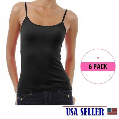 NWT Women's Ladies Solid BLACK Poly Cami Camisol Tank Top WHOLESALE LOT 6 PACK