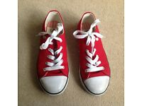 Red Dunlop canvas shoes, UK size 1