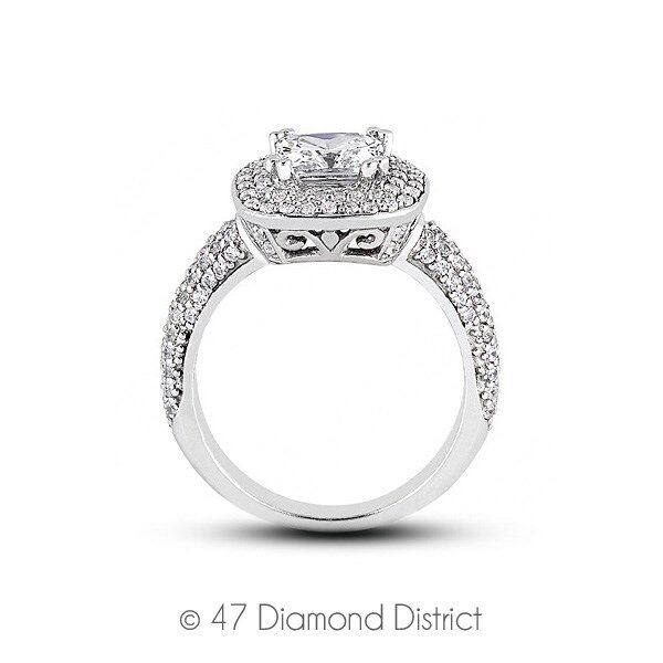 1.90ctw E-VS1 VG Cushion AGI Certified Diamonds 14K Gold Halo Vintage Ring 5.7gm