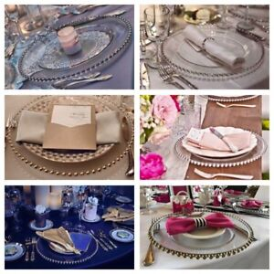GLASS / PLASTIC CHARGER PLATES 4 Rent, Bridal Chairs, cake stand