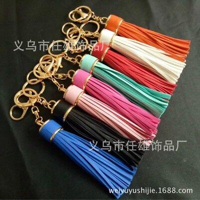 Brand New Leather Tassel Pendant Keyring Bag Purse Key Chain Handbag Accessories