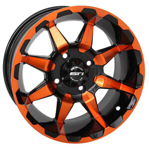 "STI HD6 14"" ATV Wheels RIMS CANADA in COOL COLOURS ATV TIRE RACK"
