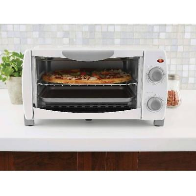 "Toaster Oven 4 Slice Fits 9"" Pizza Deathly white Kitchen Bake Broil and Toast 1000W"