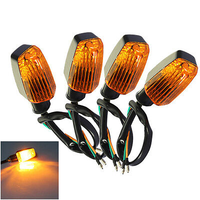 4X Universal Motorcycle Motorbike Turn Signal Indicator Turning Light Amber 12V