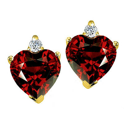 2.03 CARAT 14K YELLOW OR WHITE GOLD HEART SHAPE GARNET STUD EARRINGS BASKET SET 14k Garnet Heart Earrings